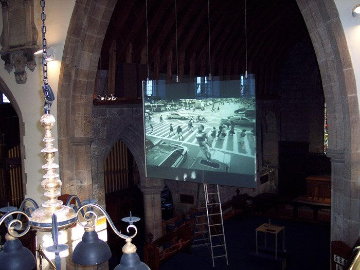 switchable smart glass projection screen church